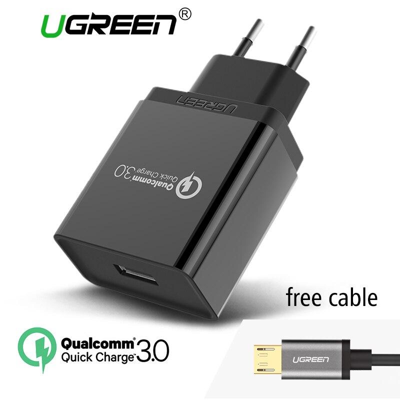 Цена за Ugreen Телефона Qualcomm Быстрая Зарядка 3.0 18 Вт Быстрое Зарядное Устройство USB (быстрая Зарядка 2.0 Совместимый) для Samsung Xiaomi 5 Huawei lg