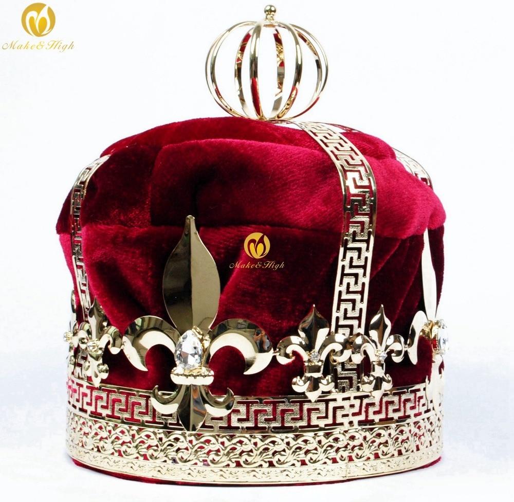 Men s 9 Red Velvet Crowns Imperial Medieval Tiaras Fleur De Lis Large Full Round King