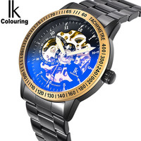 IK Coloring Mens Watches Men's See Through Auto Mechanical Stainless Steel Band Wristwatch Original Box Free Ship