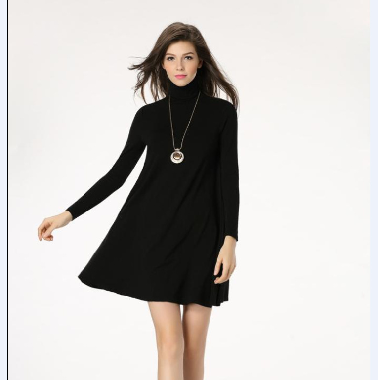 Pregnant Woman Maternity Clothes Clothing Big Swing Dress High-necked Lady Dresses European And American New Spring Dress