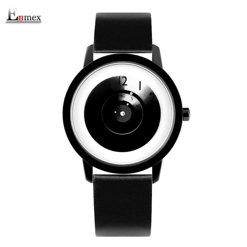 2018 Enmex creative style steel band wristwatch Focus time special design hit color hands fashion casual quartz watch(China)