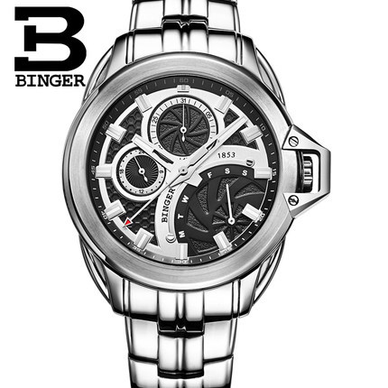 Fashion Luxury Brand Binger Watches Full Stain Steel Watch Men Metal strap Military Quartz Clock Reloj