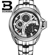 Fashion Luxury Brand Binger Watches Full Stain Steel Watch Men Metal strap Military Quartz Clock Reloj 50m Waterproof Wristwatch