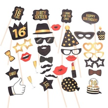 1 Set Man 16 18 21 30 40 50 60th Birthday Photo Props Funny Mustache Glass Mask Anniversary Party Decor Supplies