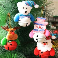Christmas Tree Bell Ornaments Pendant Santa Claus Bell Snowman Doll Christmas Bell Decoration Party Supplies Decor New