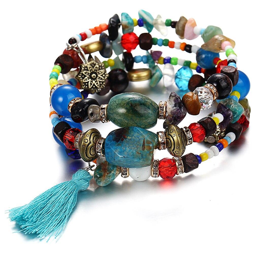 Trendy Multilayers Bracelet Tassel & Beads Rope Chain Stone Bracelets For Women Pulseira Bohemia Beach Style Jewelry