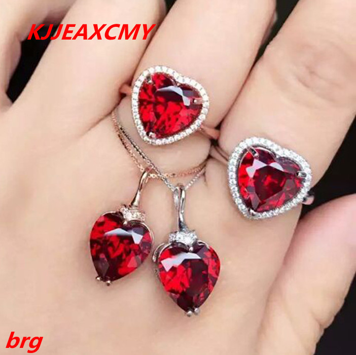 KJJEAXCMY Fine jewelry, 925 sterling silver ring + pendant garnet red corundum jewelry ladies suits