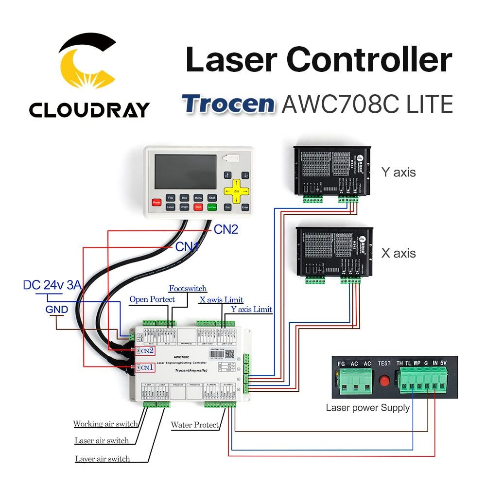 Cloudray Trocen Anywells AWC708C LITE Co2 laserkontrolleri süsteem - Puidutöötlemismasinate varuosad - Foto 5