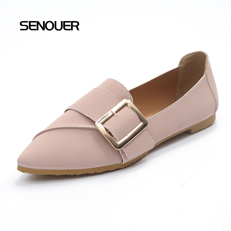 Fashion Spring Women Flats With Buckle Metal Elegant Slim Pointed Toes Solid Women Shoes Casual Flat With Slip On Thin Shoes hot sale 2016 new fashion spring women flats black shoes ladies pointed toe slip on flat women s shoes size 33 43