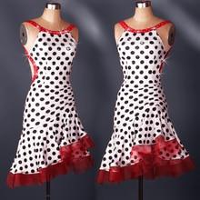 women Polka Dot fish tail Latin Dance Dress sleeveless sequins Modern Dancing Dress Tango/Cha cha/Rumba Competition Dress