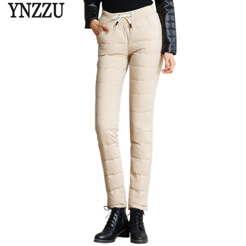 YNZZU Women Pants Trousers Winter High Waist Lace Up Outer Wear Pants Fashion Warm Thicken Duck Down Pants Trousers Women B126 in Pants amp Capris from Women 39 s Clothing