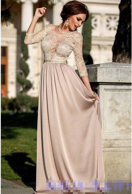 Vestido De Festa Vintage New Design Lace Three Quarter Sleeve Long Prom 2018 Beading Sashes Party Mother Of The Bride Dresses