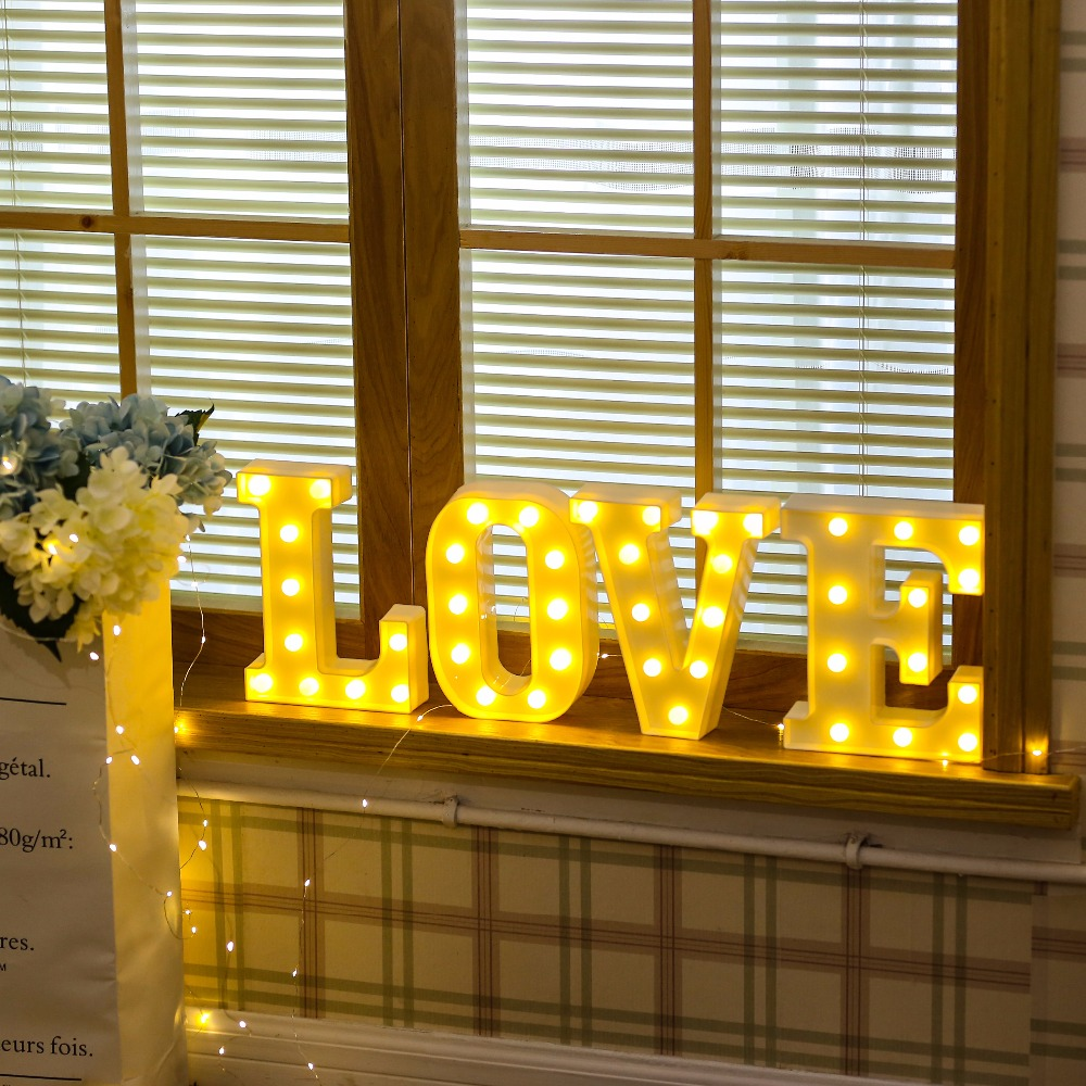 26 white letter led alphabet light indoor battery powered - Lights to hang on wall ...