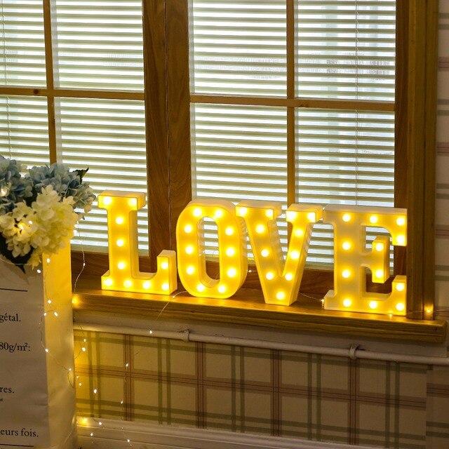 26 White Letter LED  Alphabet Light Indoor Battery powered Wall Hanging Night Light Bedroom Wedding Birthday Party Decor