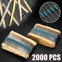 2000pcs 100 Values 1 ohm~1M ohm Metal Film Resistors Resistance Assortment Kit 1/4W цена