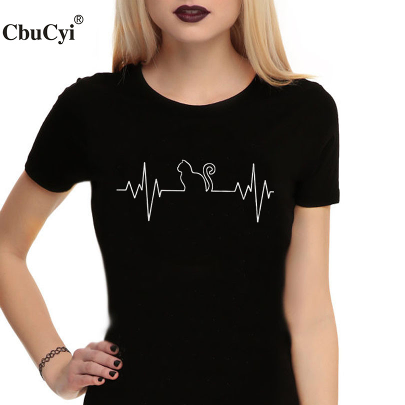 Cat Heartbeat T Shirt Cat Animal Lover Clothes Cute T -7589