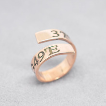 Rose Gold Ring Coordinate Personalized Spiral Band Ring Longitude Latitude Engraved Hand Stamp Silver Jewelry anneau anillo