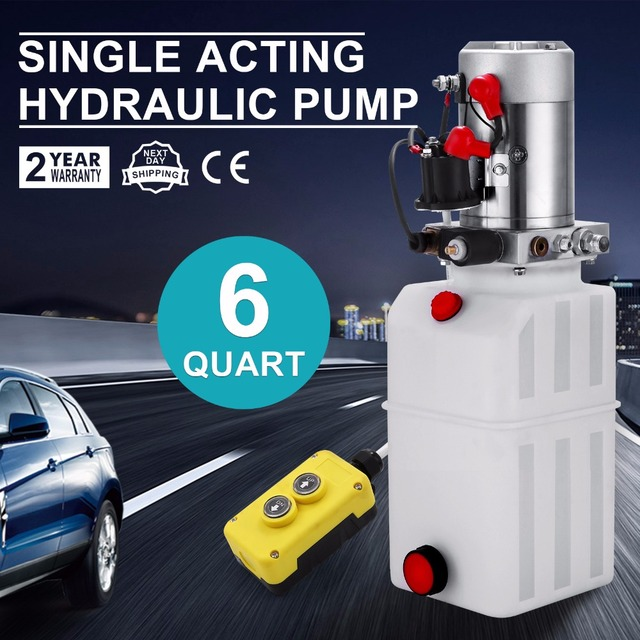 US $209 25 7% OFF|6 QUART SINGLE ACTING HYDRAULIC PUMP DUMP TRAILER  RESERVOIR UNIT PACK POWER UNIT-in Power Tool Accessories from Tools on