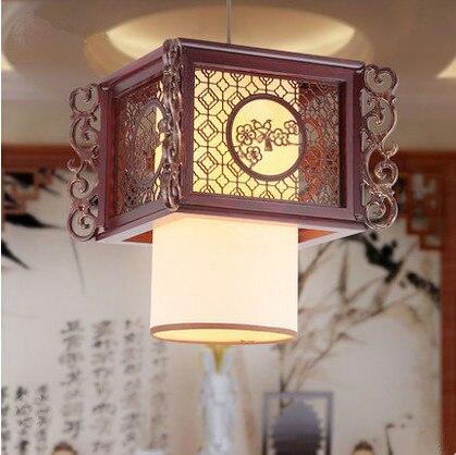 Classical handmade carved flower&bird pattern wood art Pendant Lights White shade E27 LED lamp for corridor&cafe&pavilion MF031