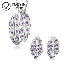 New Jewelry Rhinestone Necklace + Stud Earrings Jewelry Sets nigerian wedding african beads jewelry set crystal  S073-B
