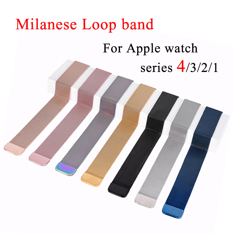 Milanese Loop Band for Apple Watch 38mm 42mm Stainless Steel Metal Mesh Bracelet Strap Wrist Watchband for iwatch Series 4 3 2 1 цена 2017