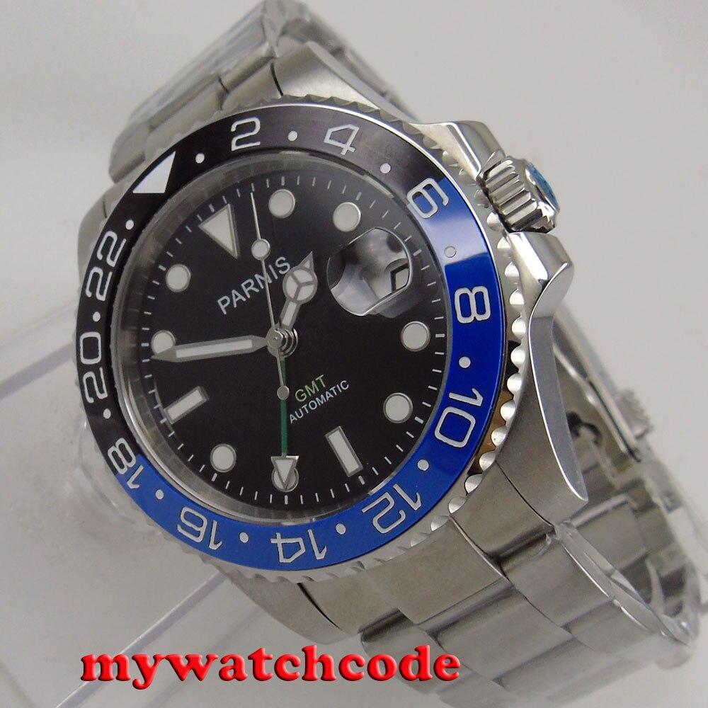 40mm parnis 블랙 다이얼 날짜 창 세라믹 베젤 gmt 자동식 남성 시계 p876-에서기계식 시계부터 시계 의  그룹 2