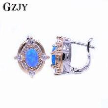GZJY Charming Fire Opal Earrings Double Gold Color Zircon Earrings For Women Girl Fashion Wedding Party Jewelry Gift brinco