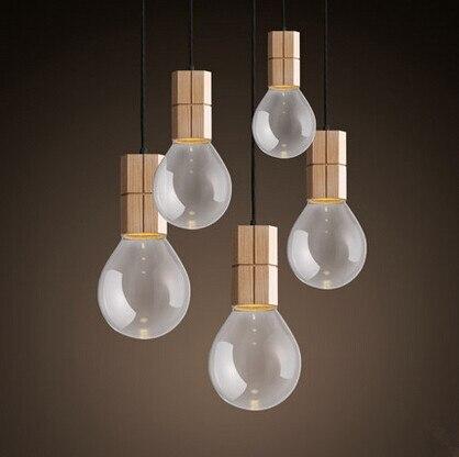 Современный северные деревянные из светодиодов подвесные светильники Fxitures с абажур для столовой лампы Lamparas Colgantes