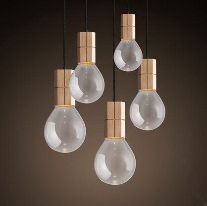 Modern Nordic Wooden LED Pendant Lights Fxitures With Glass Lampshade For Dinning Room Lamp Lamparas Colgantes retro loft industrial vintage led pendant lights fxitures with glass lampshade dinning room lamp lamparas colgantes