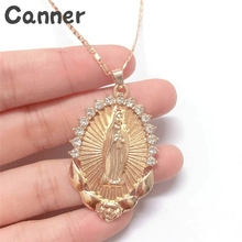 Canner Oval Angle Virgin Mary Maria Jesus Necklace Statement Vintage Pendant For Women Men Rhinestone Necklace Holiday Gifts A30 chic rhinestone faux crystal oval necklace for women