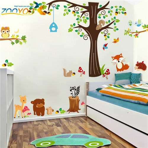 zooyoo original zy1204+9089 removable pvc owl squirrel tree wall