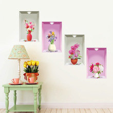 Newest 3d Wall Hole Window View 4 Flower Flora Pot Light Wall Stickers Scenery Home Decor Sofa TV Background for Kids Girls Room