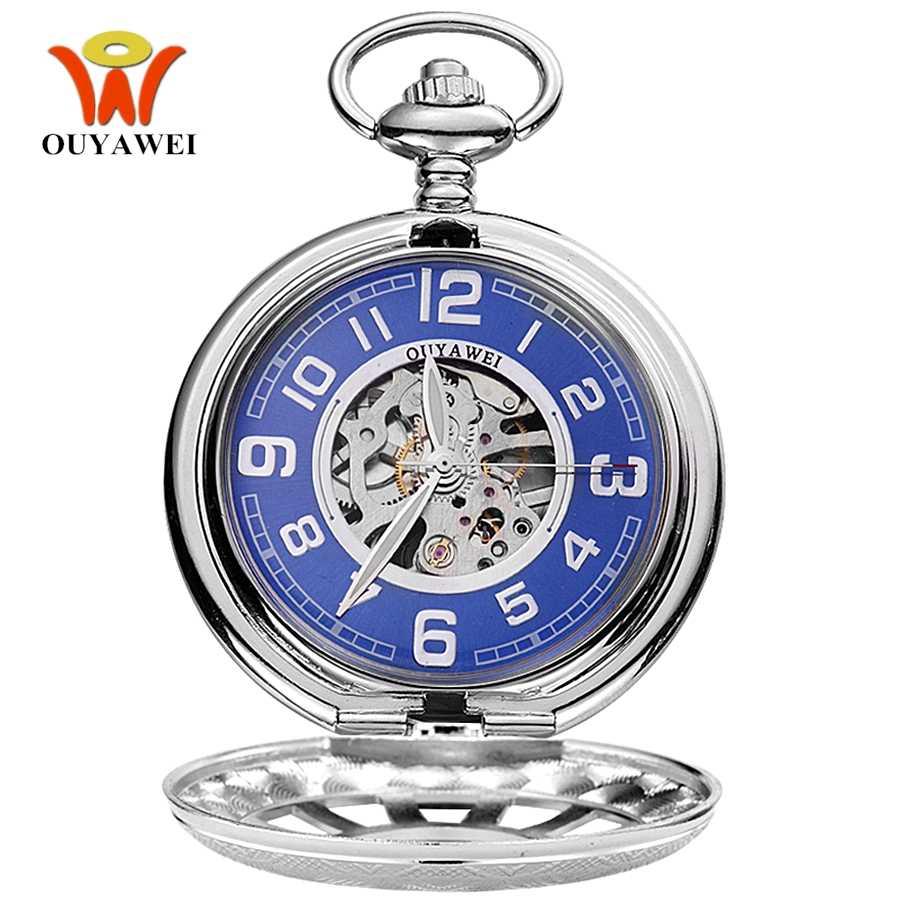 2017 יד Winding מכאני גברים שעון כיס בציר שעון MECHINCIAL כסף אופנה תליון שרשרת פלדת שלד חיוג כחול פוב שעונים