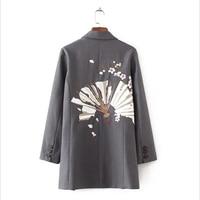 Fashion Floral Embroidery Blazer Feminino Long Sleeve Notched Blazer Women European Style Single Button Office Lady