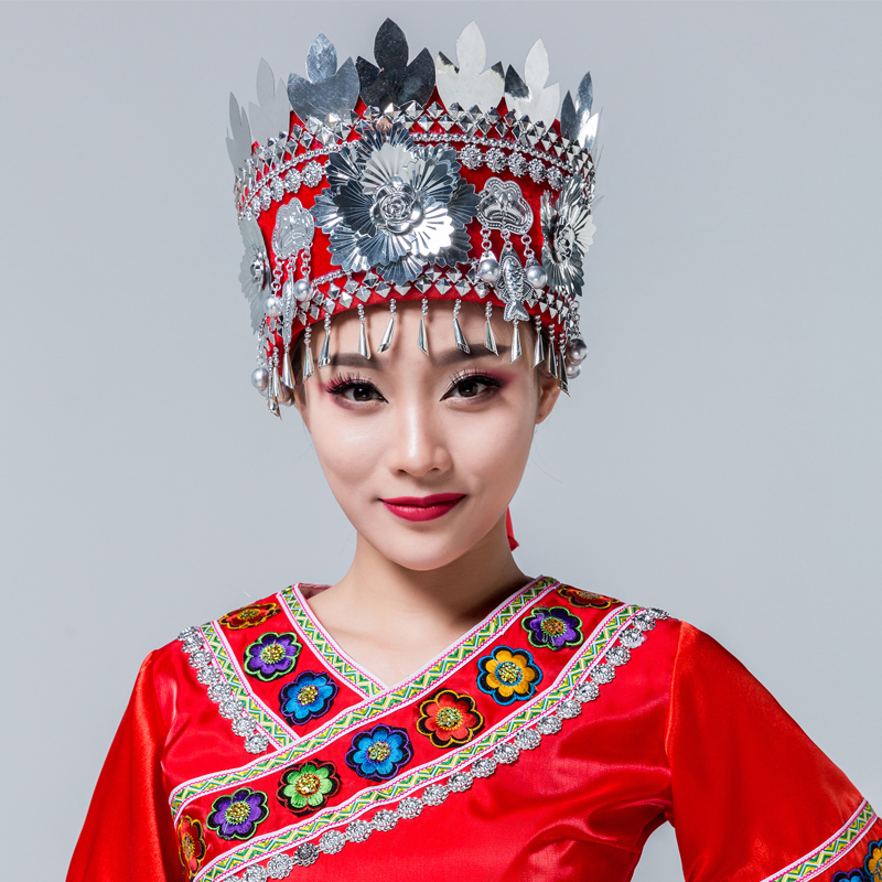 2 colors women's silver chinese minority costumes accessories miao clothing beautiful miao hat national style hat minority dance