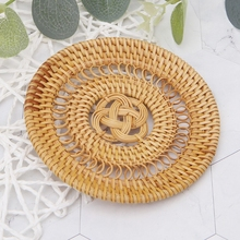 10CM Rattan Placemats Straw Cup Coasters Dining Table Mat Heat Insulation Pot Holder Wicker Drink Coaster Kitchen Accessories natural hand woven straw placemat dining table mat heat insulation pot holder cup coaster kitchen accessories
