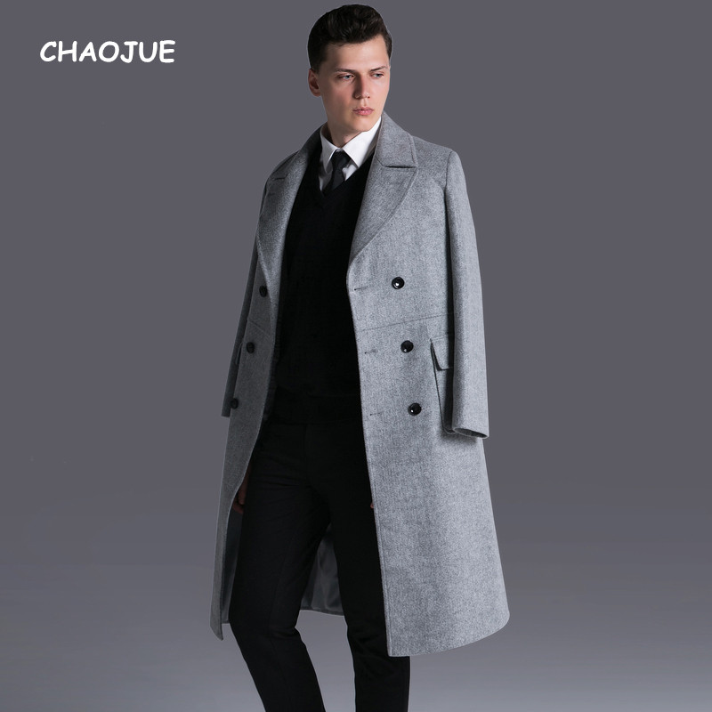 CHAOJUE Brand Mens Double Breasted Long Wool Coat 2017 Fall/Winter Extra Long Business C ...
