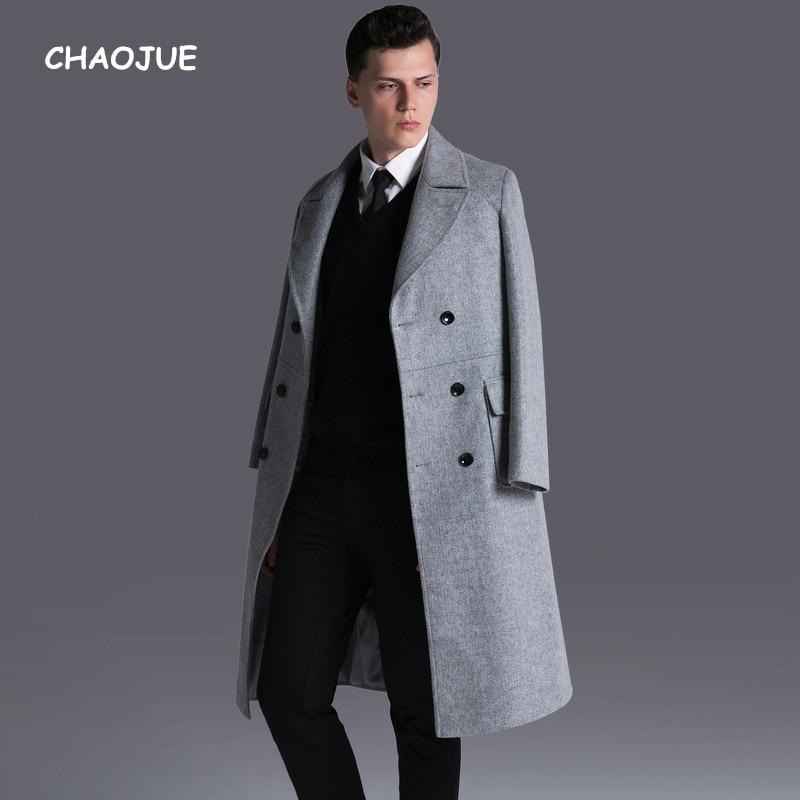 CHAOJUE marque hommes Double boutonnage Long laine manteau 2017 automne/hiver Extra Long affaires casual laine Outwear mâle gris pardessus