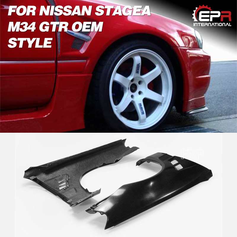 For Nissan Stagea M34 GTR FRP Fiber Glass Front End Conversion Front Fender Fiberglass Wheel Vented Flare Arch Cover Drift kit|Body Kits| |  - title=