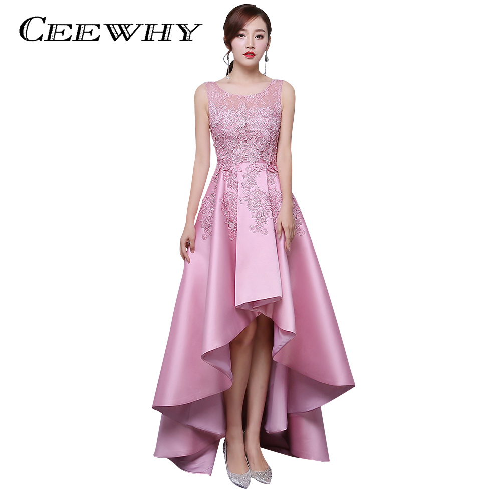 CEEWHY Candy Color Asymmetrical   Evening     Dress   Short Front Long Back Lace Satin   Dress   Elegant Formal Party   Dress     Evening   Gowns