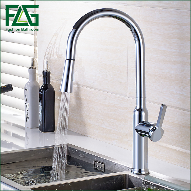 Newest Pull out Spray Kitchen Faucet Mixer Tap Chrome Finishing Single Hand Kitchen Tap Mixer Brass Faucet kitchen chrome plated brass faucet single handle pull out pull down sink mixer hot and cold tap modern design