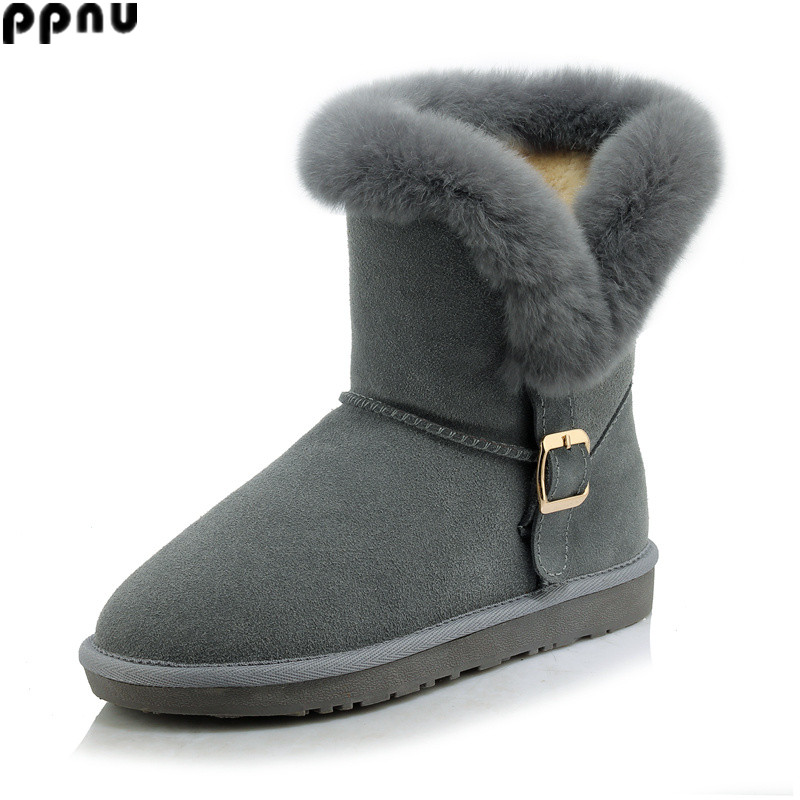 ppnu womens winter nubuck cow genuine leather mid calf snow boots women fashion buckle woman boots