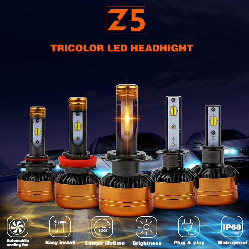 1 Set 50W 5800LM Z5 Tri-Color LED Headlight H1 H4 H7 H8 H9 H11 9005 9006 3-Color FLIP Chips Retrofit 3K 4.3K 6K Free Switch Bulb