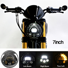 12 30V DC DOT E mark 7 inch Round Motorcycle Headlight for Bike Harley Motorcycle Headlight