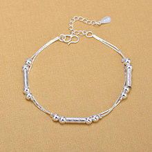 Silver Plated Anklets 925 Fashion Silver Jewelry Chain Anklet for Women Girls Friend Foot Barefoot Leg Jewelry(China)