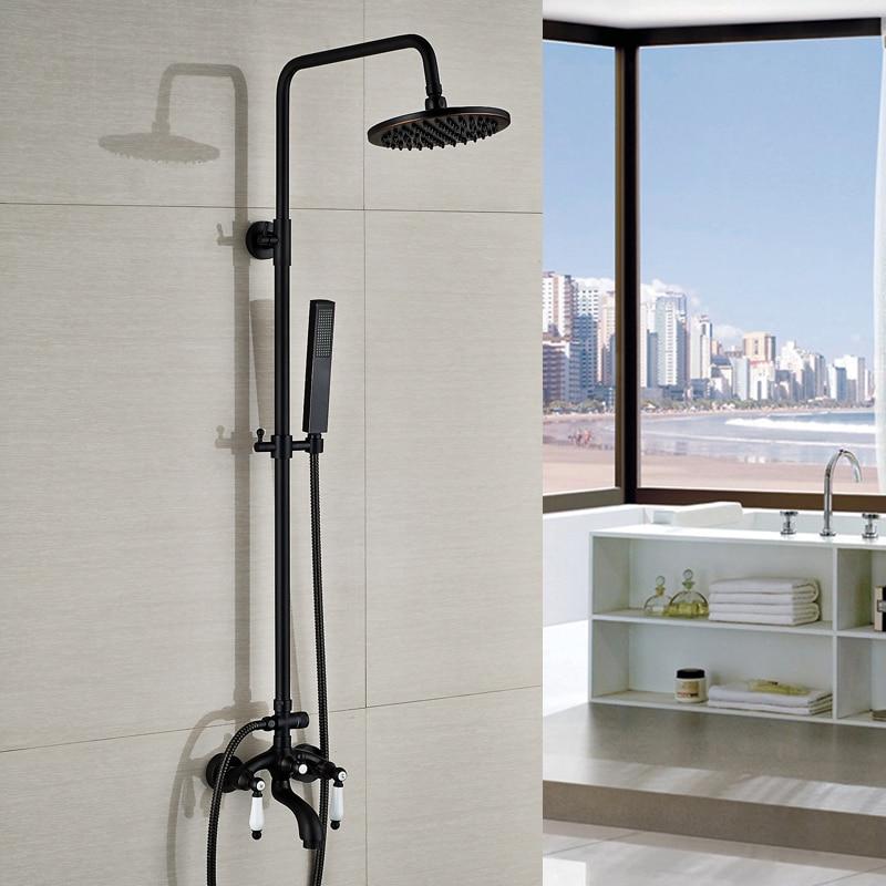 Oil Rubbed Bronze Double Handles Modern Rainfall Shower Faucet + Tub ...