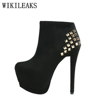 High Quality Rivets Flock High Heels Shoes Woman Short Ankle Boots Platform Shoes Italian Euros Designer
