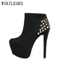 High Quality Rivets Flock High Heels Shoes Woman Short Ankle Boots Platform Shoes Italian Euros Designer