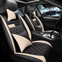 Car Seat Cushions Waterproof Leather Full Set Seat Cover Universal Adjustable Bench for Most Cars 13PCS / Set