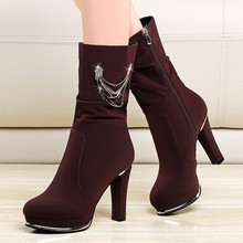 Cow Suede Beautiful Mid Calf Boots For Women Zip Martin Comfortable Casual Boots Round Toe High Heel Boot Shoes Black YG-A0047 autumn winter new suede leather female beautiful fringe boots sexy high heel long tassel mid calf boots tide women mid calf boot